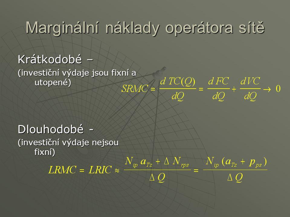 Marginální náklady operátora sítě Krátkodobé – (investiční výdaje jsou fixní a utopené) Dlouhodobé - (investiční výdaje nejsou fixní)