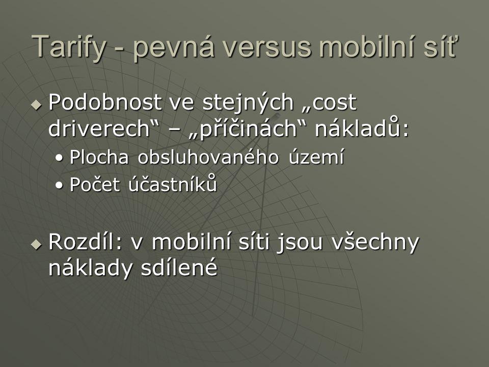 """Tarify - pevná versus mobilní síť  Podobnost ve stejných """"cost driverech – """"příčinách nákladů: Plocha obsluhovaného územíPlocha obsluhovaného území Počet účastníkůPočet účastníků  Rozdíl: v mobilní síti jsou všechny náklady sdílené"""