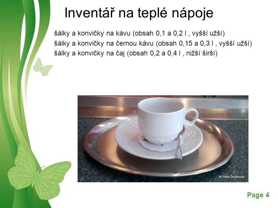 Free Powerpoint TemplatesPage 4 Inventář na teplé nápoje šálky a konvičky na kávu (obsah 0,1 a 0,2 l, vyšší užší) šálky a konvičky na černou kávu (obs