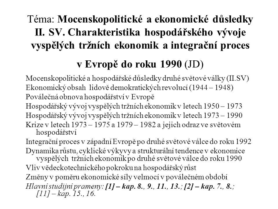 Téma: Mocenskopolitické a ekonomické důsledky II. SV. Charakteristika hospodářského vývoje vyspělých tržních ekonomik a integrační proces v Evropě do