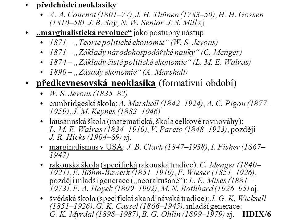 """předchůdci neoklasiky A. A. Cournot (1801–77), J. H. Thünen (1783–50), H. H. Gossen (1810–58), J. B. Say, N. W. Senior, J. S. Mill aj. """"marginalistick"""