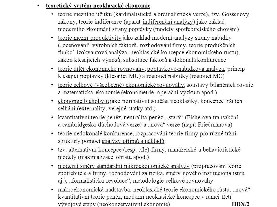 teoretický systém neoklasické ekonomie teorie mezního užitku (kardinalistická a ordinalistická verze), tzv.