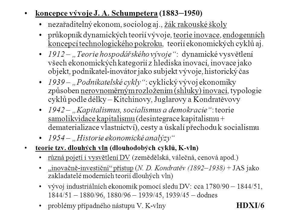 koncepce vývoje J. A. Schumpetera (1883 – 1950) nezařaditelný ekonom, sociolog aj., žák rakouské školy průkopník dynamických teorií vývoje, teorie ino