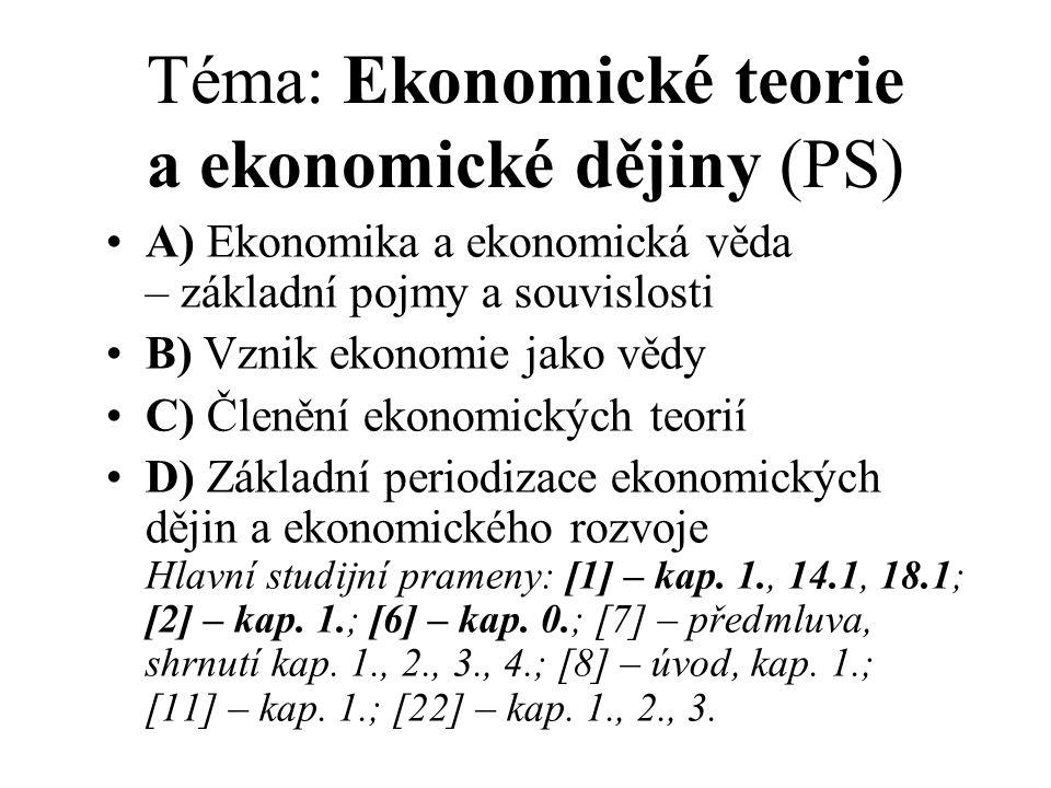 Téma: Ekonomické teorie a ekonomické dějiny (PS) A) Ekonomika a ekonomická věda – základní pojmy a souvislosti B) Vznik ekonomie jako vědy C) Členění ekonomických teorií D) Základní periodizace ekonomických dějin a ekonomického rozvoje Hlavní studijní prameny: [1] – kap.