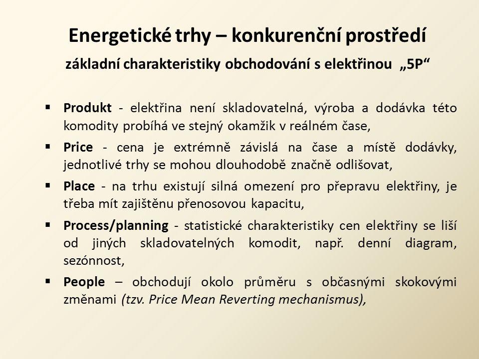 """Energetické trhy – konkurenční prostředí základní charakteristiky obchodování s elektřinou """"5P""""  Produkt - elektřina není skladovatelná, výroba a dod"""