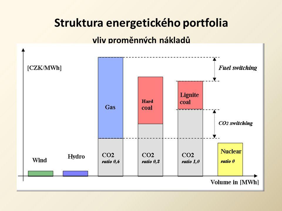 Struktura energetického portfolia vliv proměnných nákladů