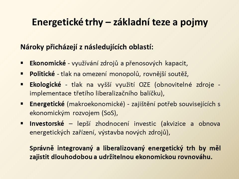 Energetické trhy – základní teze a pojmy Nároky přicházejí z následujících oblastí:  Ekonomické - využívání zdrojů a přenosových kapacit,  Politické