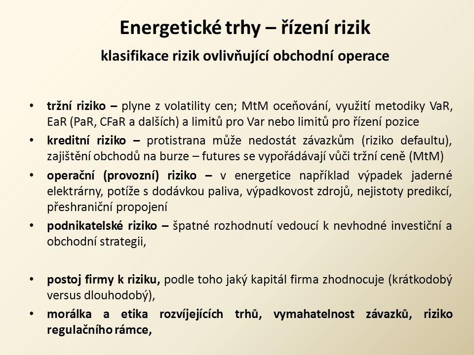 Energetické trhy – řízení rizik klasifikace rizik ovlivňující obchodní operace tržní riziko – plyne z volatility cen; MtM oceňování, využití metodiky