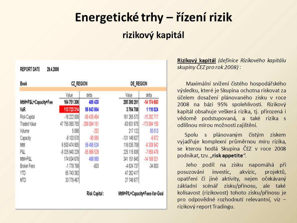 Energetické trhy – řízení rizik rizikový kapitál Rizikový kapitál (definice Rizikového kapitálu skupiny ČEZ pro rok 2008) : Maximální snížení čistého