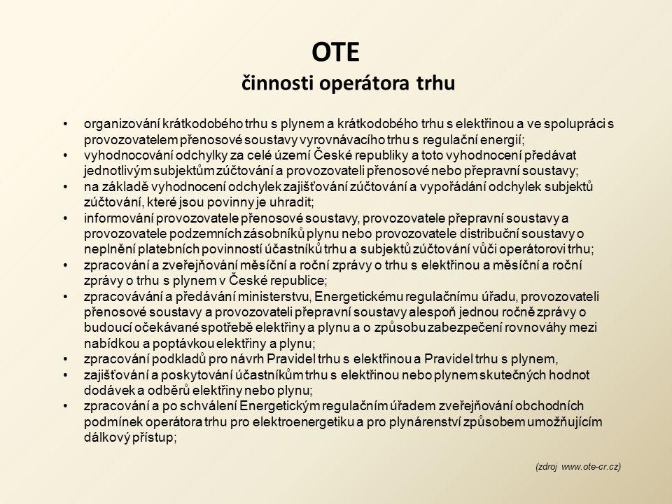 OTE činnosti operátora trhu organizování krátkodobého trhu s plynem a krátkodobého trhu s elektřinou a ve spolupráci s provozovatelem přenosové sousta