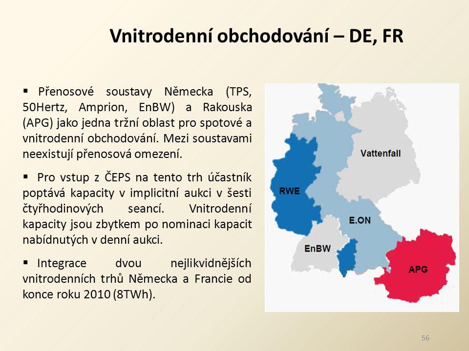 56 Vnitrodenní obchodování – DE, FR  Přenosové soustavy Německa (TPS, 50Hertz, Amprion, EnBW) a Rakouska (APG) jako jedna tržní oblast pro spotové a