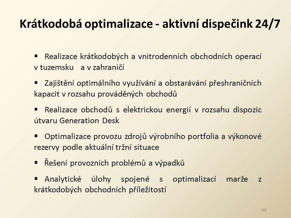 64 Krátkodobá optimalizace - aktivní dispečink 24/7  Realizace krátkodobých a vnitrodenních obchodních operací v tuzemsku a v zahraničí  Zajištění o