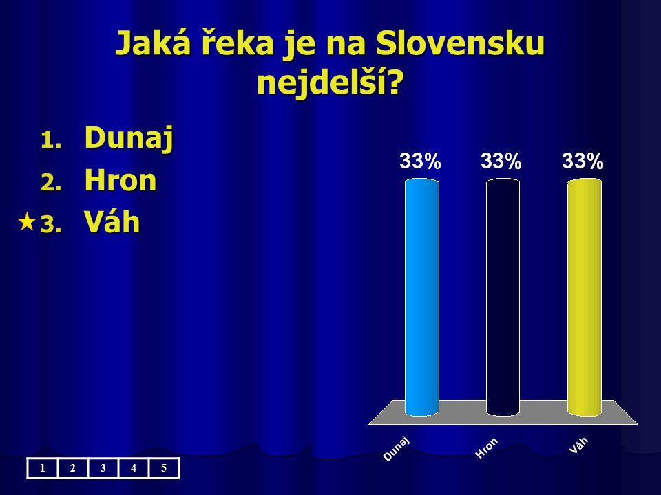 Jaká řeka je na Slovensku nejdelší? 1. Dunaj 2. Hron 3. Váh 12345