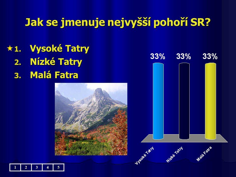 Jak se jmenuje nejvyšší pohoří SR? 1. Vysoké Tatry 2. Nízké Tatry 3. Malá Fatra 12345