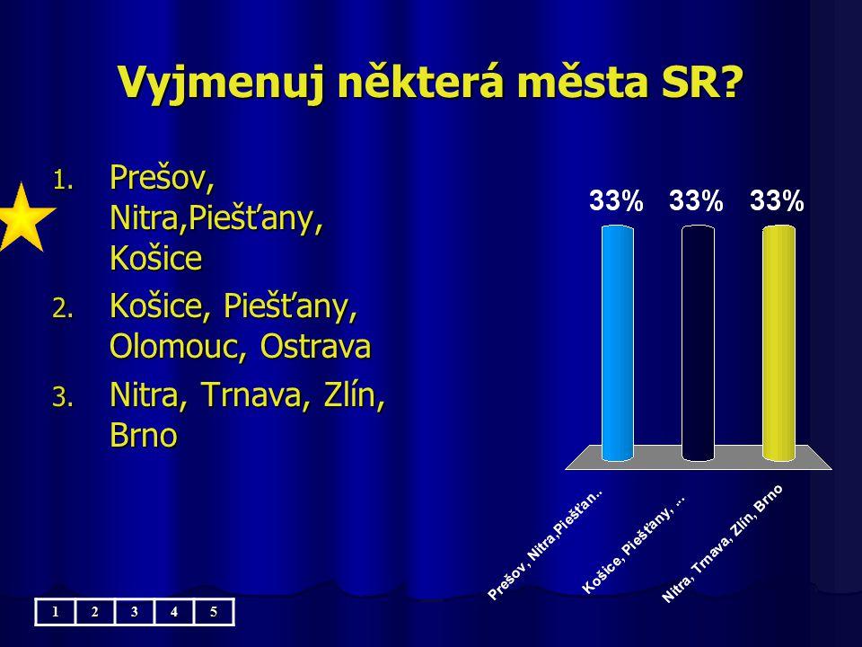 Vyjmenuj některá města SR.1. Prešov, Nitra,Piešťany, Košice 2.
