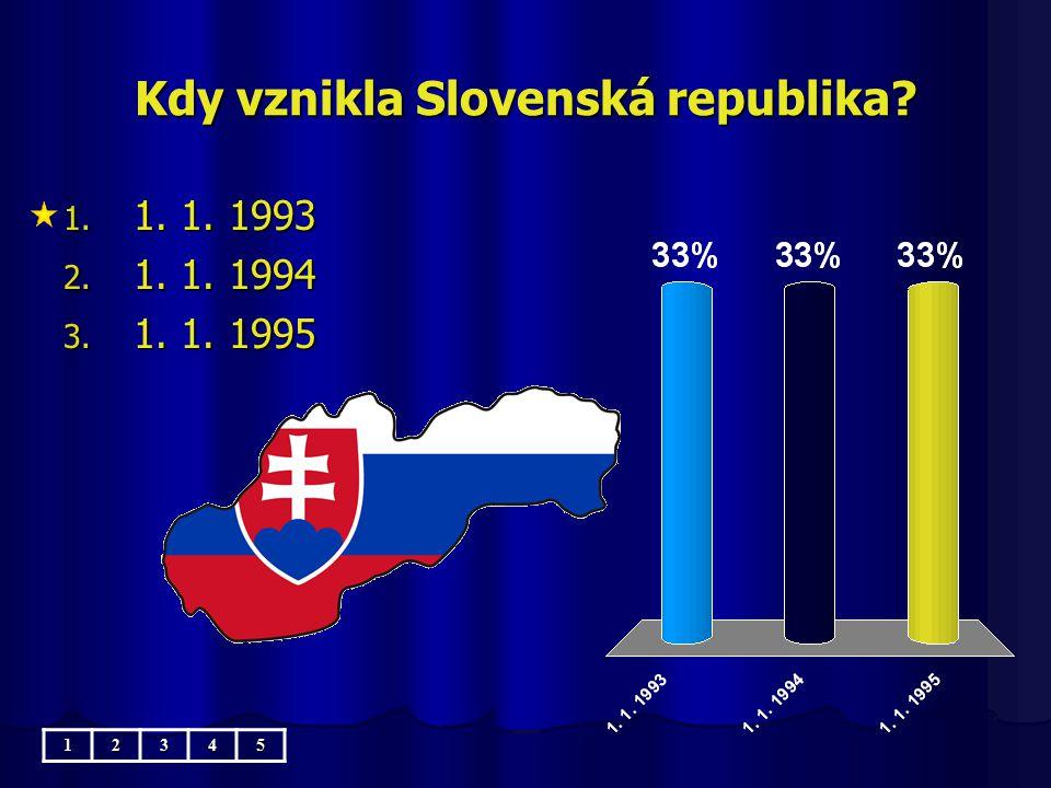 Kdy vznikla Slovenská republika? 1. 1. 1. 1993 2. 1. 1. 1994 3. 1. 1. 1995 12345