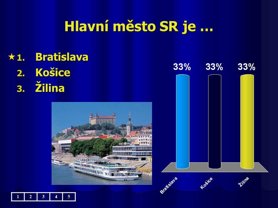 Hlavní město SR je … 1. Bratislava 2. Košice 3. Žilina 12345