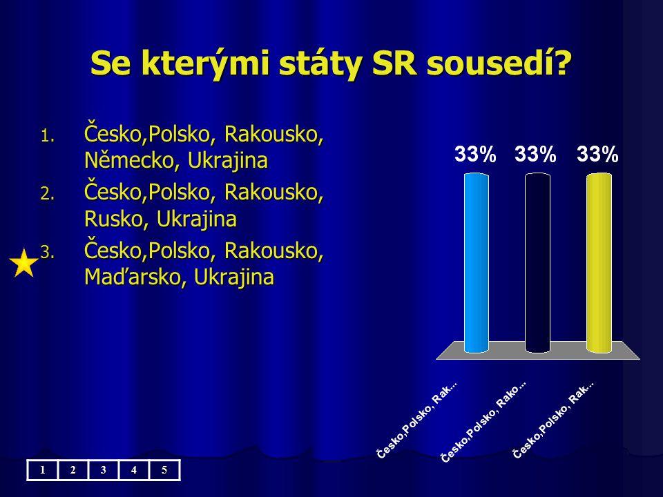Se kterými státy SR sousedí.1. Česko,Polsko, Rakousko, Německo, Ukrajina 2.