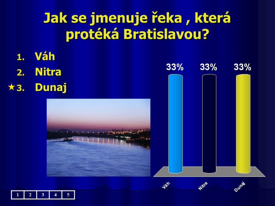 Jak se jmenuje řeka, která protéká Bratislavou? 1. Váh 2. Nitra 3. Dunaj 12345