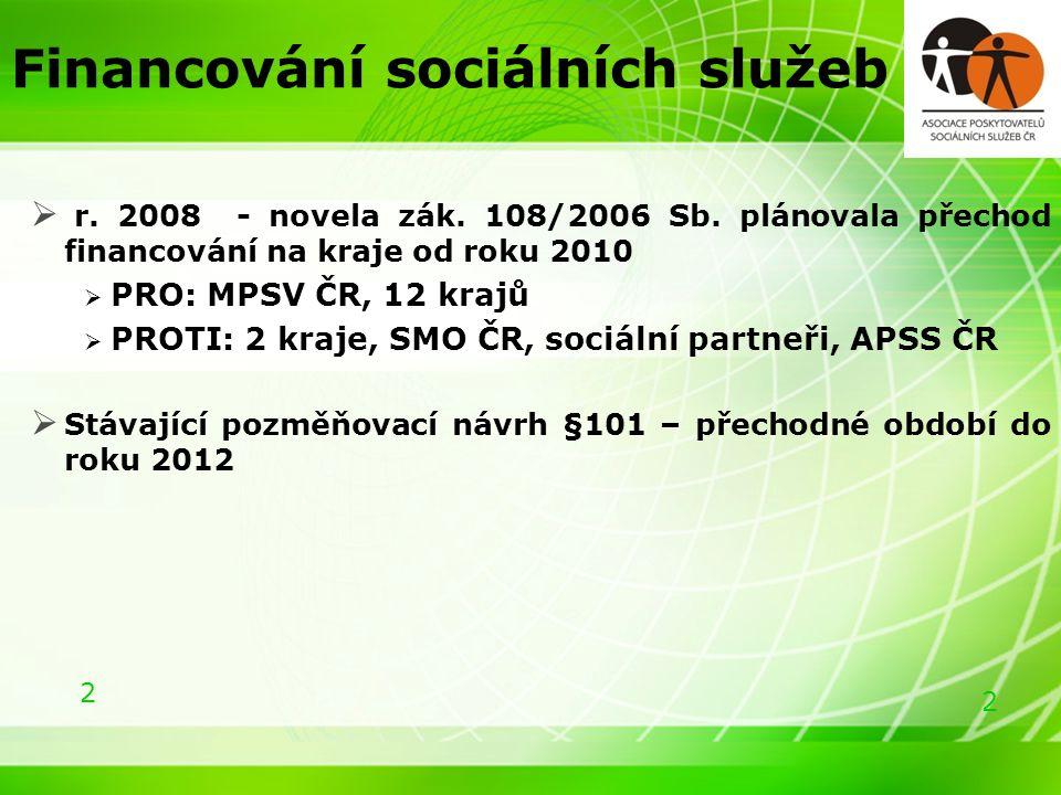 2 2 Financování sociálních služeb  r. 2008 - novela zák.