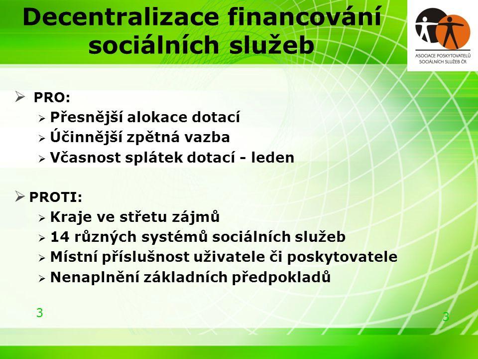 3 3 Decentralizace financování sociálních služeb  PRO:  Přesnější alokace dotací  Účinnější zpětná vazba  Včasnost splátek dotací - leden  PROTI:  Kraje ve střetu zájmů  14 různých systémů sociálních služeb  Místní příslušnost uživatele či poskytovatele  Nenaplnění základních předpokladů