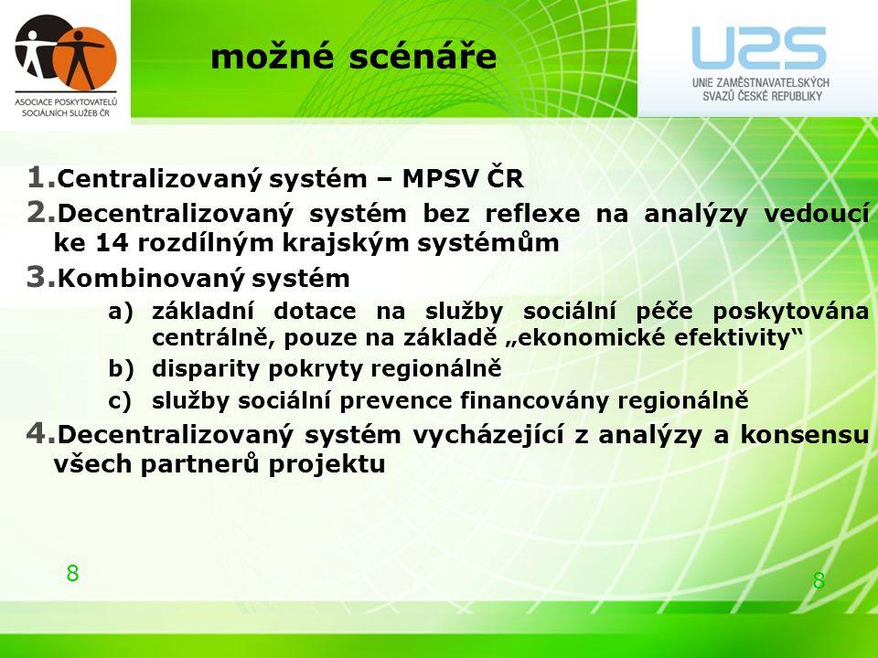 8 8 možné scénáře 1. Centralizovaný systém – MPSV ČR 2.