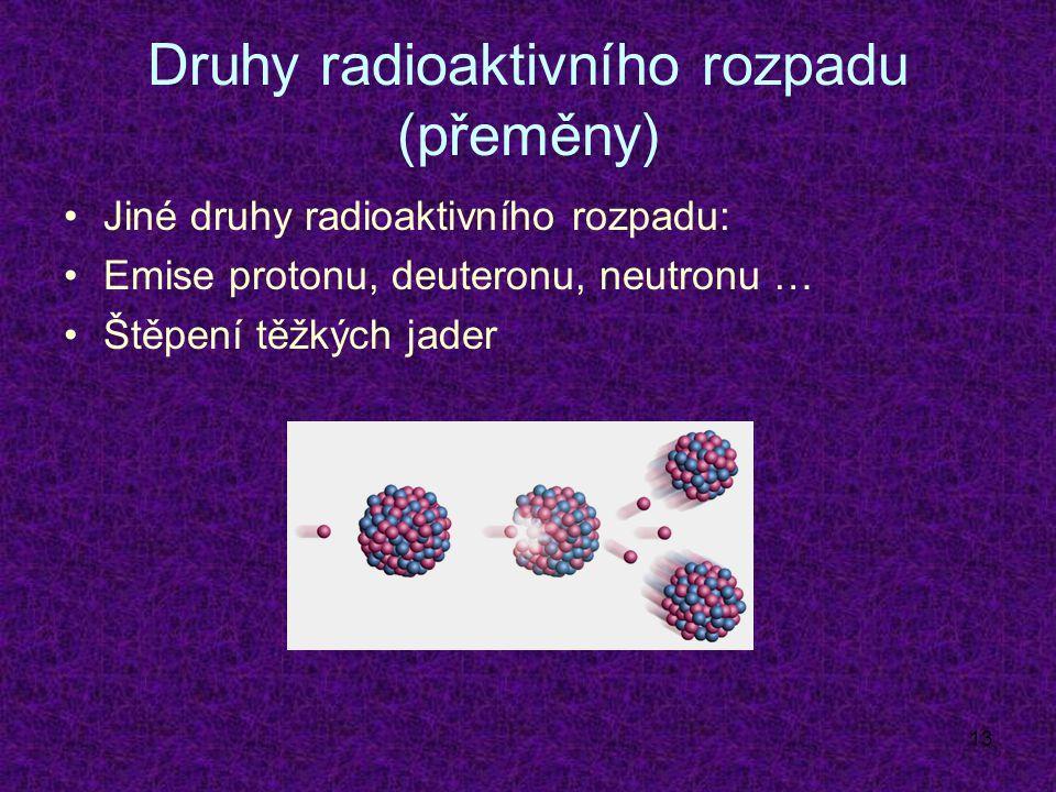 13 Druhy radioaktivního rozpadu (přeměny) Jiné druhy radioaktivního rozpadu: Emise protonu, deuteronu, neutronu … Štěpení těžkých jader