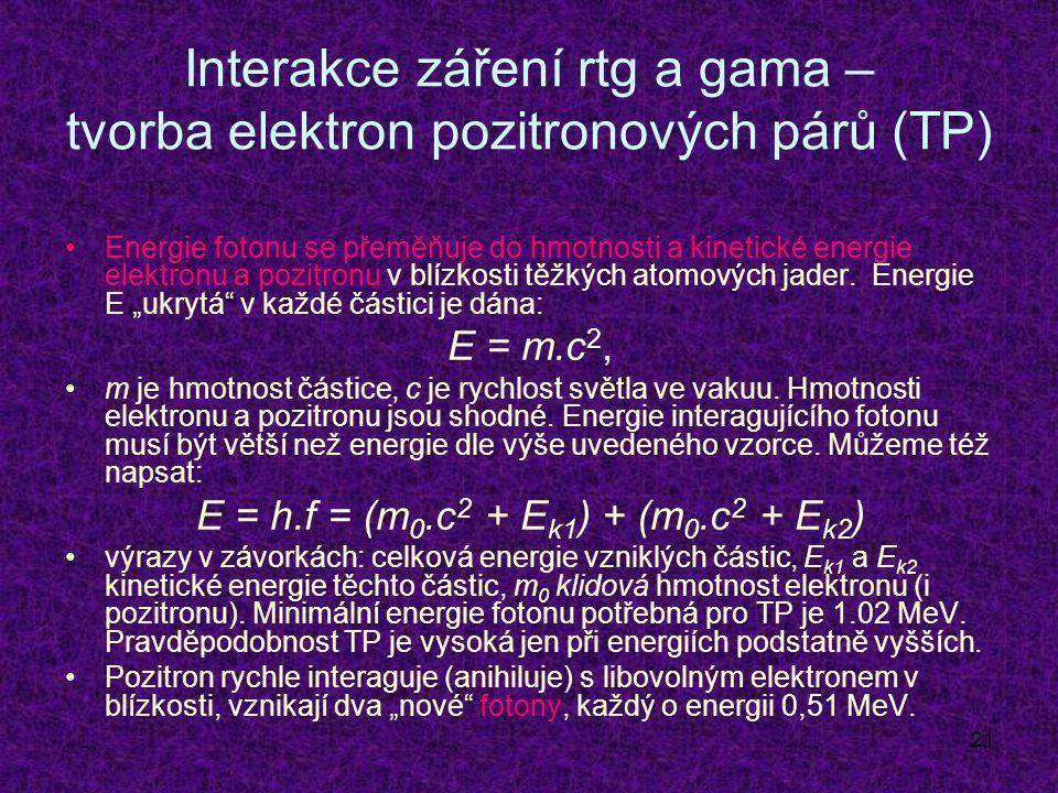 21 Interakce záření rtg a gama – tvorba elektron pozitronových párů (TP) Energie fotonu se přeměňuje do hmotnosti a kinetické energie elektronu a pozitronu v blízkosti těžkých atomových jader.