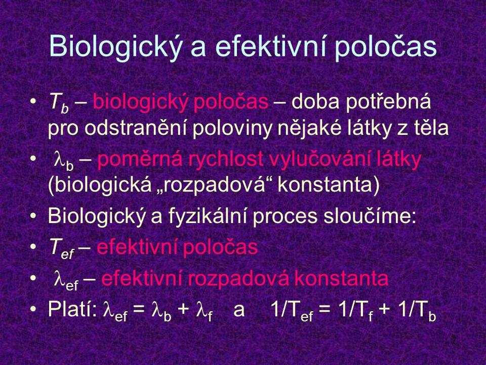 """7 Biologický a efektivní poločas T b – biologický poločas – doba potřebná pro odstranění poloviny nějaké látky z těla b – poměrná rychlost vylučování látky (biologická """"rozpadová konstanta) Biologický a fyzikální proces sloučíme: T ef – efektivní poločas ef – efektivní rozpadová konstanta Platí: ef = b + f a 1/T ef = 1/T f + 1/T b"""