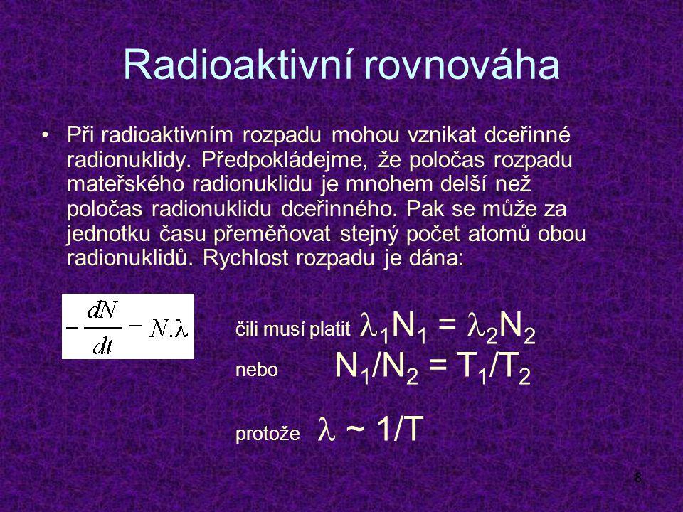 9 Techneciový generátor Příklad praktického použití radioaktivní rovnováhy v klinické praxi – získávání technecia pro diagnostické účely: Mo-99 má poločas rozpadu 99 hod., Tc- 99m poločas 6 hod.