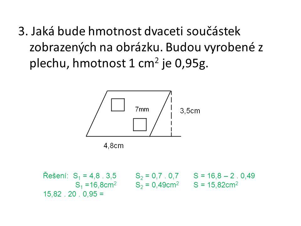 3. Jaká bude hmotnost dvaceti součástek zobrazených na obrázku.