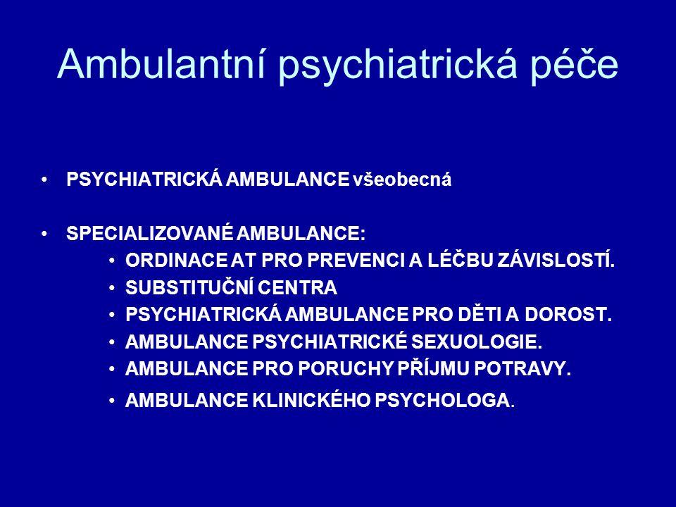 Ambulantní psychiatrická péče PSYCHIATRICKÁ AMBULANCE všeobecná SPECIALIZOVANÉ AMBULANCE: ORDINACE AT PRO PREVENCI A LÉČBU ZÁVISLOSTÍ. SUBSTITUČNÍ CEN