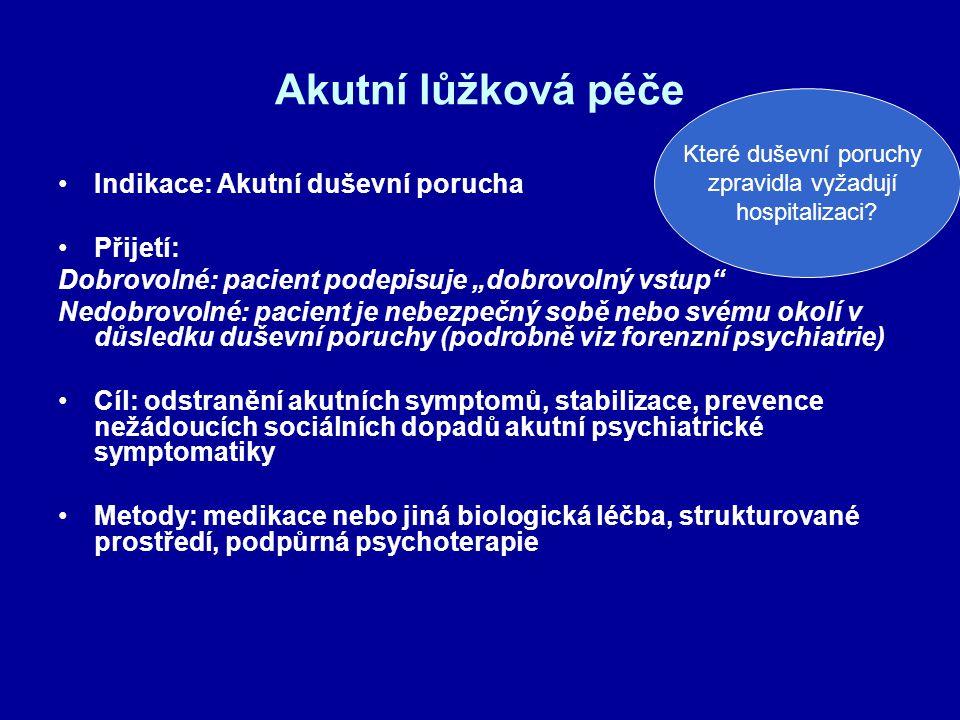 """Akutní lůžková péče Indikace: Akutní duševní porucha Přijetí: Dobrovolné: pacient podepisuje """"dobrovolný vstup"""" Nedobrovolné: pacient je nebezpečný so"""