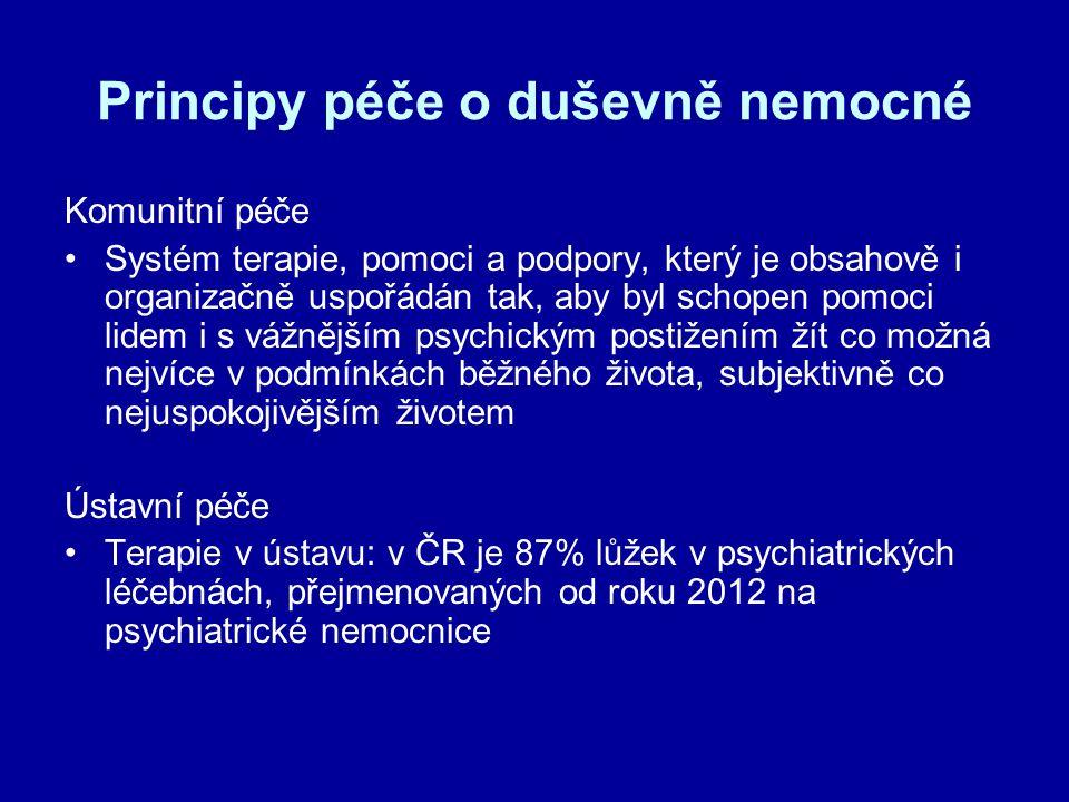 Principy péče o duševně nemocné Komunitní péče Systém terapie, pomoci a podpory, který je obsahově i organizačně uspořádán tak, aby byl schopen pomoci