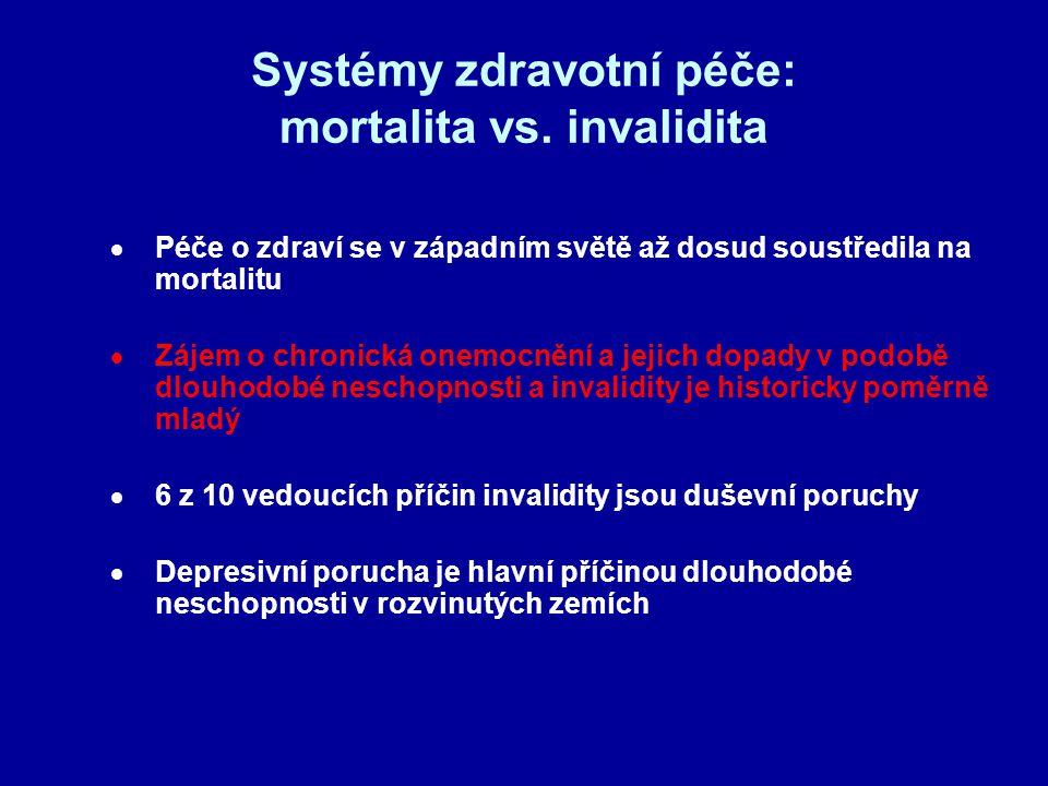 Systémy zdravotní péče: mortalita vs. invalidita  Péče o zdraví se v západním světě až dosud soustředila na mortalitu  Zájem o chronická onemocnění