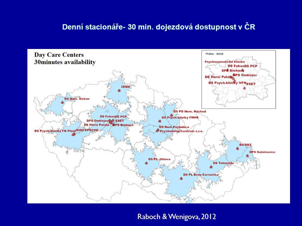 Denní stacionáře- 30 min. dojezdová dostupnost v ČR Raboch & Wenigova, 2012