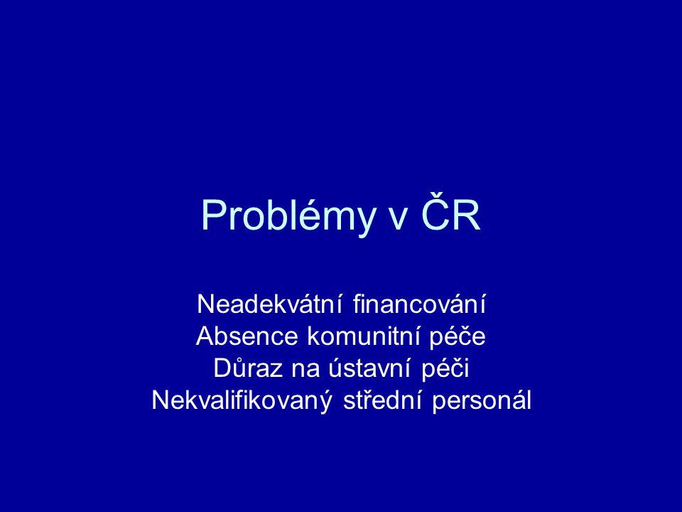 Problémy v ČR Neadekvátní financování Absence komunitní péče Důraz na ústavní péči Nekvalifikovaný střední personál