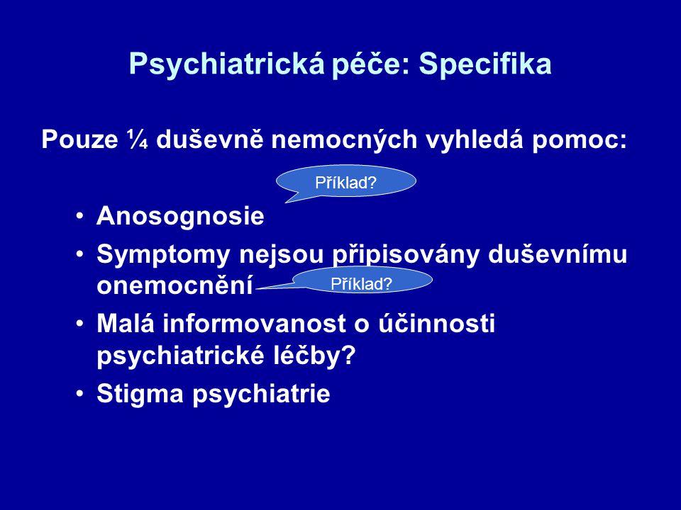 Psychiatrická péče: Specifika Pouze ¼ duševně nemocných vyhledá pomoc: Anosognosie Symptomy nejsou připisovány duševnímu onemocnění Malá informovanost