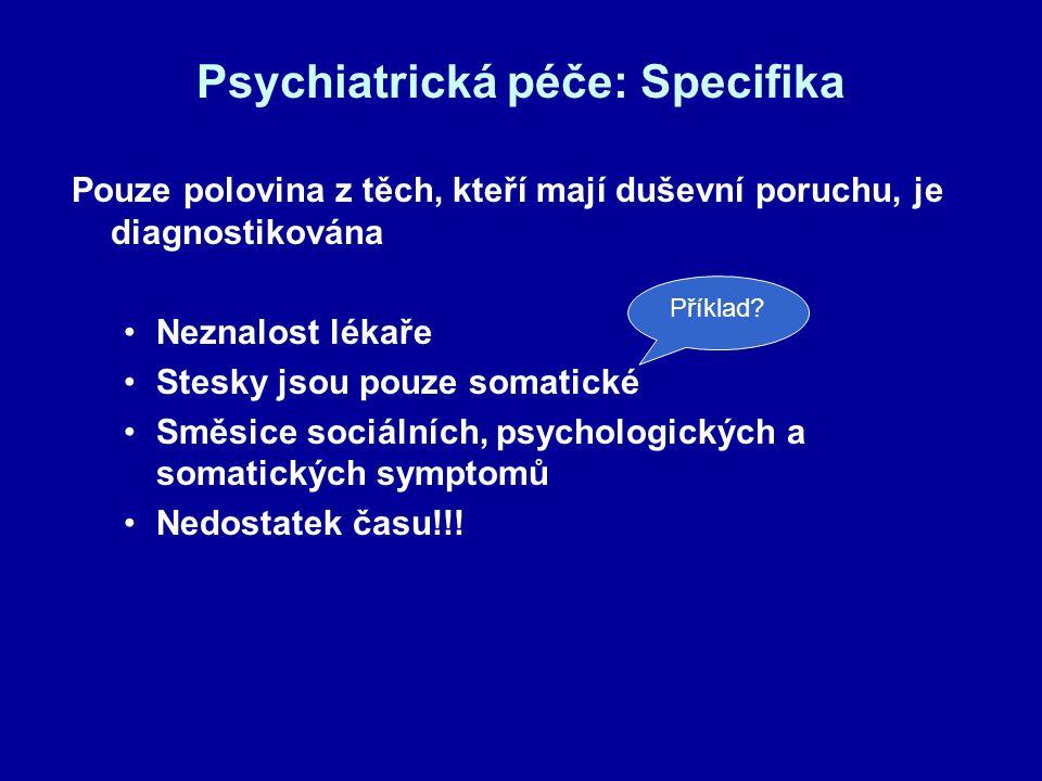 Psychiatrická péče: Specifika Pouze polovina z těch, kteří mají duševní poruchu, je diagnostikována Neznalost lékaře Stesky jsou pouze somatické Směsi