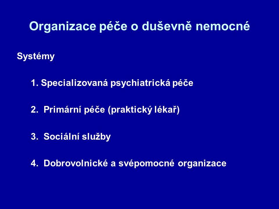 Organizace péče o duševně nemocné Systémy 1. Specializovaná psychiatrická péče 2. Primární péče (praktický lékař) 3. Sociální služby 4. Dobrovolnické
