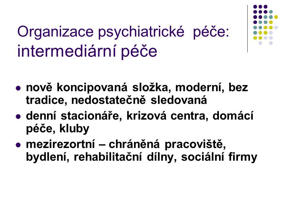 Organizace psychiatrické péče: intermediární péče nově koncipovaná složka, moderní, bez tradice, nedostatečně sledovaná denní stacionáře, krizová cent