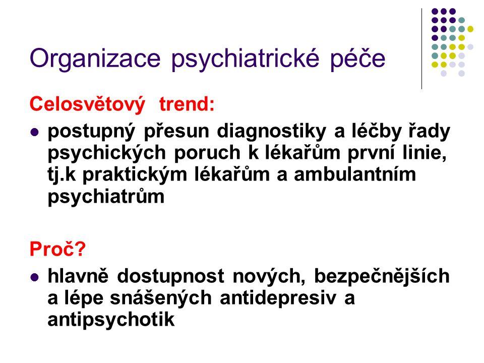 Organizace psychiatrické péče Celosvětový trend: postupný přesun diagnostiky a léčby řady psychických poruch k lékařům první linie, tj.k praktickým lé