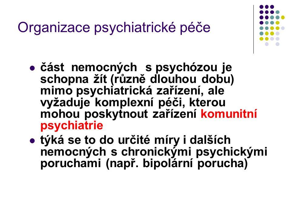 Organizace psychiatrické péče část nemocných s psychózou je schopna žít (různě dlouhou dobu) mimo psychiatrická zařízení, ale vyžaduje komplexní péči,