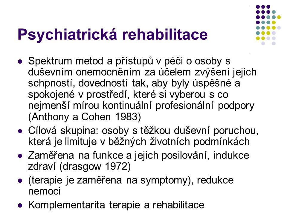 Psychiatrická rehabilitace Spektrum metod a přístupů v péči o osoby s duševním onemocněním za účelem zvýšení jejich schpností, dovedností tak, aby byl