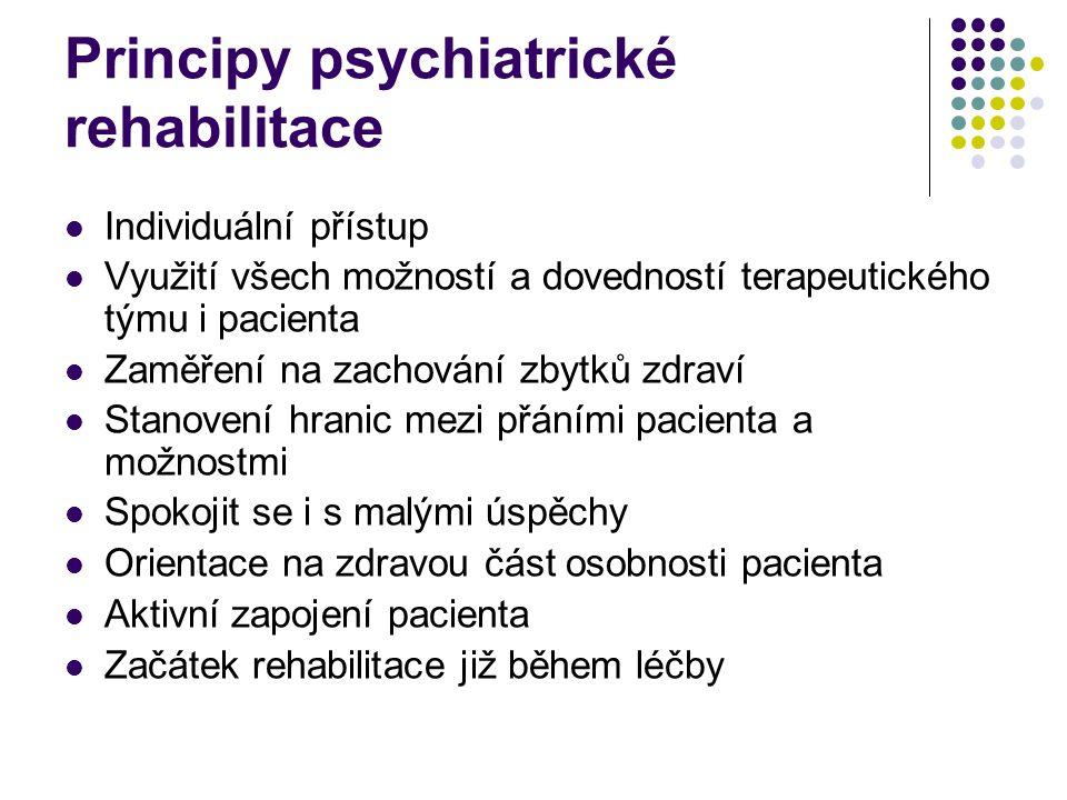 Principy psychiatrické rehabilitace Individuální přístup Využití všech možností a dovedností terapeutického týmu i pacienta Zaměření na zachování zbyt