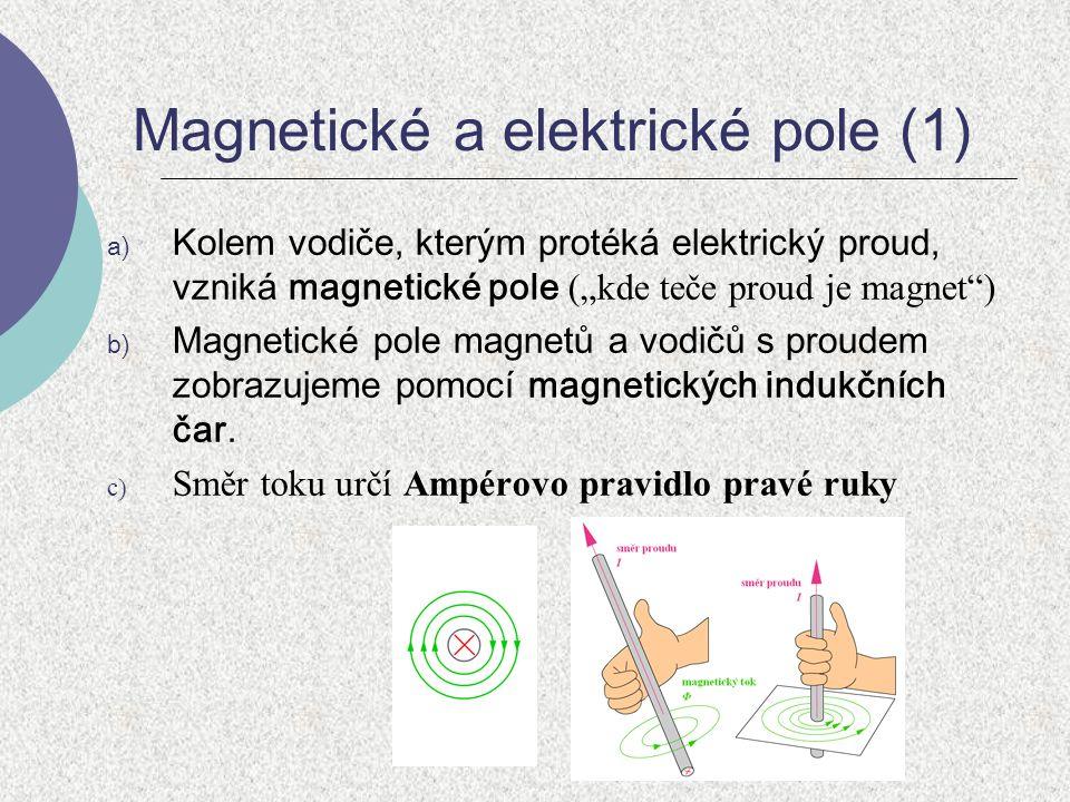 """Magnetické a elektrické pole (1) a) Kolem vodiče, kterým protéká elektrický proud, vzniká magnetické pole (""""kde teče proud je magnet"""") b) Magnetické p"""