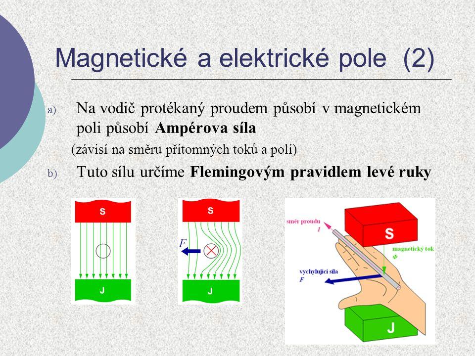 Magnetické a elektrické pole (2) a) Na vodič protékaný proudem působí v magnetickém poli působí Ampérova síla (závisí na směru přítomných toků a polí)