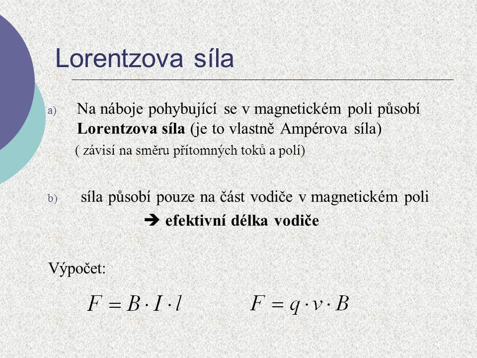 Lorentzova síla a) Na náboje pohybující se v magnetickém poli působí Lorentzova síla (je to vlastně Ampérova síla) ( závisí na směru přítomných toků a