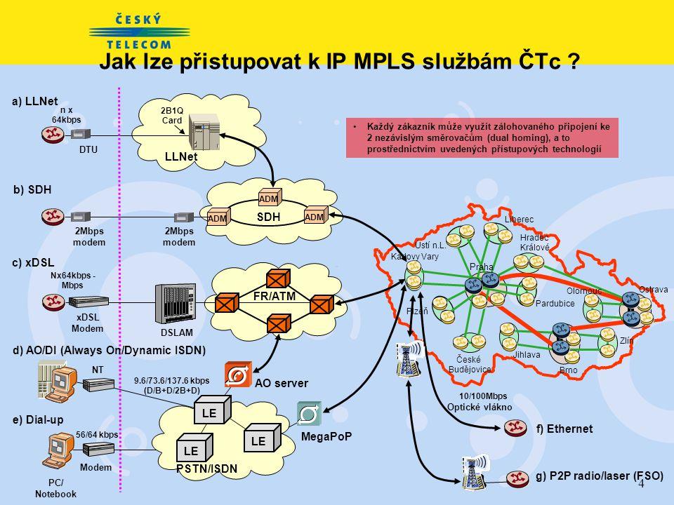 4 ADM SDH ADM DTU a) LLNet LLNet 2B1Q Card n x 64kbps Jak lze přistupovat k IP MPLS službám ČTc .