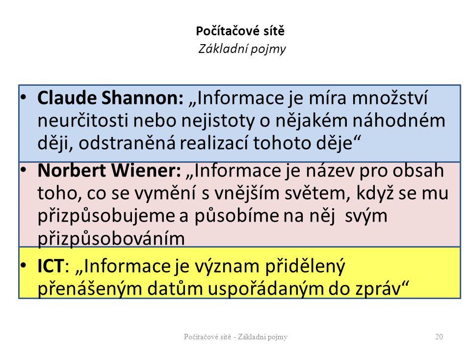 """Počítačové sítě Základní pojmy Claude Shannon: """"Informace je míra množství neurčitosti nebo nejistoty o nějakém náhodném ději, odstraněná realizací to"""